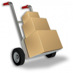 moving dolly and boxes